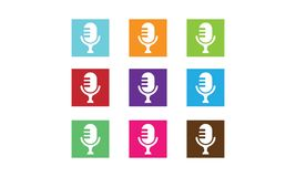 Microphone Logo. Vector illustration style is flat iconic and design elements on white background Stock Photography