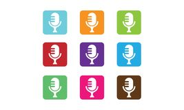Microphone Logo. Vector illustration style is flat iconic and design elements on white background Stock Photo