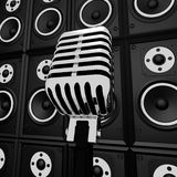 Microphone And Loud Speakers Shows Music Industry. Microphone And Loud Speakers Showing Music Industry Concert Or Entertainment Stock Images