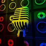 Microphone And Loud Speakers Shows Performance Stock Photography