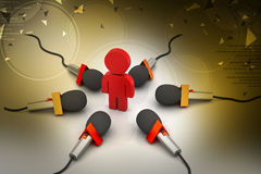 Microphone with man, communication concept Stock Images