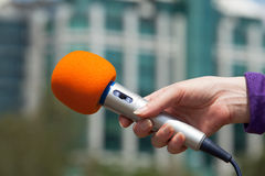 Microphone. Media interview. Stock Photography