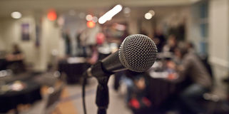 Microphone. In a meeting room Stock Photography