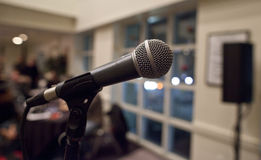 Microphone. In a meeting room Royalty Free Stock Image