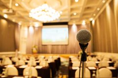 Microphone in meeting room. Royalty Free Stock Photos