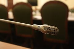 Microphone in the meeting room Stock Image