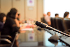 Microphone in meeting room for a conference room Royalty Free Stock Photography