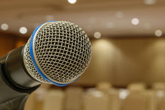 Microphone in meeting room Stock Photos
