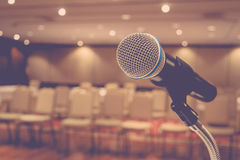 Microphone in meeting room Royalty Free Stock Images
