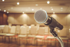 Microphone in meeting room Stock Photo