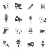 Microphone and megaphone icons black Royalty Free Stock Photo