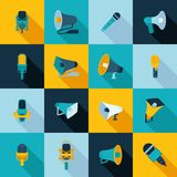 Microphone and megaphone icons flat Stock Image