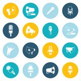 Microphone and megaphone icons flat Royalty Free Stock Image
