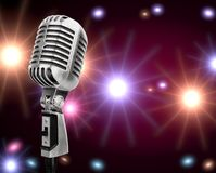 Microphone. Mic old retro singing stand jazz Stock Photography