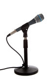 Microphone on a mic stand on white stock photos
