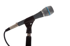 Microphone on a mic stand on white Royalty Free Stock Photos