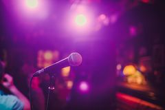 Microphone. Microphone close-up. A pub. Bar. A restaurant. Classical music. Music. Microphone. Microphone close-up. A pub. Bar. A restaurant Classical music royalty free stock photo