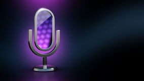 The microphone is a mirror. Mobile app. Assistant stylist. 3D illustration. 3D rendering. Steel microphone icon in the form of the mirror is on the mirror Stock Image