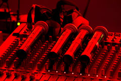 Microphone and mixer Royalty Free Stock Image