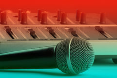 Microphone with mixer Royalty Free Stock Photography