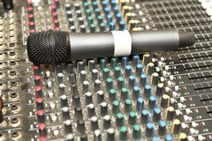 Microphone and mixer Stock Photo