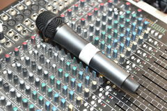 Microphone and mixer Royalty Free Stock Photos