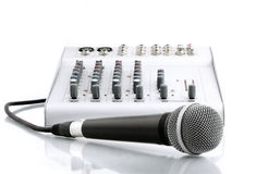 Microphone with the mixer in sound studio Royalty Free Stock Photos