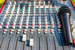 Microphone on Mixing Console of a big HiFi system, The audio equipment and control panel royalty free stock image