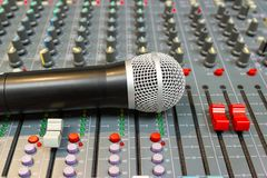 Microphone on Mixing Console of a big HiFi system royalty free stock photos