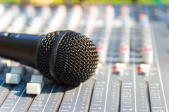 Microphone on Mixing Console of a big HiFi system stock photography