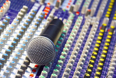 Microphone on the mixing desk. Sound studio Royalty Free Stock Photos