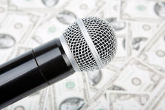 Microphone and money. Professional microphone and money, against money Stock Image
