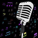 Microphone Music Closeup With Musical Notes Stock Images