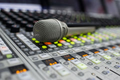 Microphone and Music Mixer Royalty Free Stock Photography