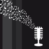 Microphone with music notes Stock Photography