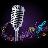 Microphone in music notes vector Stock Images