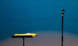 Microphone and Music Stand Stock Photography