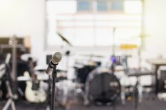 Microphone in music studio background stock photos