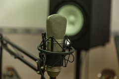 Microphone on the Music Studio. Musical Instruments and equipment stock photos