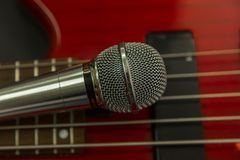 Microphone on the Music Studio. Musical Instruments and equipment royalty free stock photos