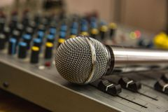 Microphone on the Music Studio. Musical Instruments and equipment royalty free stock photography
