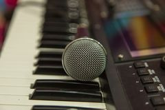 Microphone on the Music Studio. Musical Instruments and equipment royalty free stock image