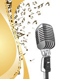 Microphone on musical background Royalty Free Stock Photo