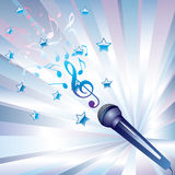 Microphone and musical notes. Royalty Free Stock Image