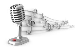 Microphone and musical notes staff set. 3D image royalty free illustration