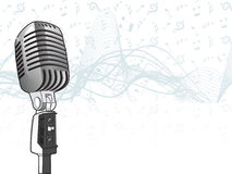 Microphone on musical theam Royalty Free Stock Image