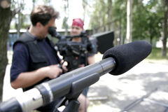 Microphone at nature. Recording to microphone at cinema shooting process Royalty Free Stock Photo