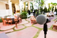 A microphone in New Year party. stock images