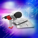 Microphone with newspaper Royalty Free Stock Image