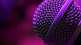 Microphone in the night club. Closeup stock footage